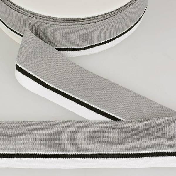 Bilde av Elastisk bånd 4cm bredt, striper grå/svart/hvit