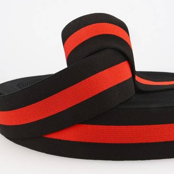 Bilde av 4cm stripet strikk svart/rød