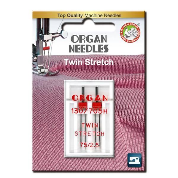 Bilde av 2pk Organ tvillingnål stretch, 2.5mm, 75