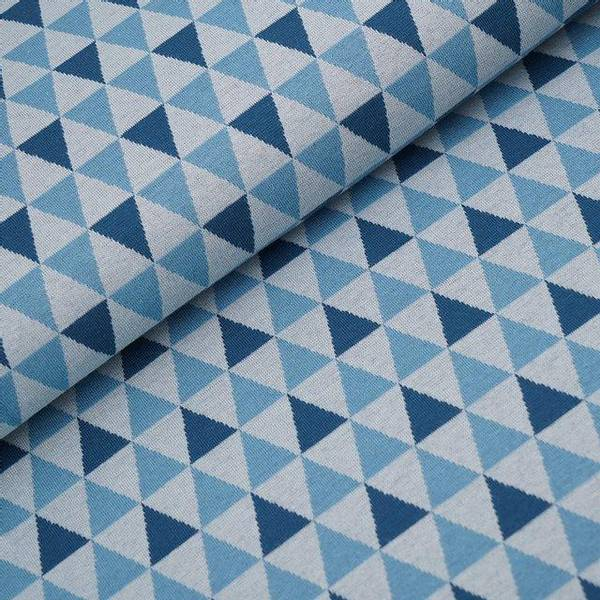 Bilde av Økologisk bomullsjacquard, triangler petrol