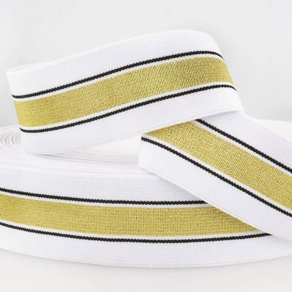Bilde av 4cm stripet glitterstrikk, hvit/gull