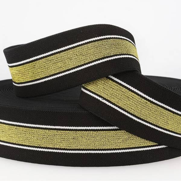 Bilde av 4cm stripet glitterstrikk, svart/gull